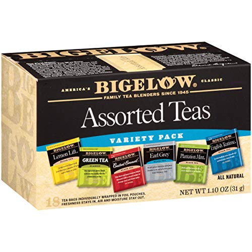 - Bigelow 6 Assorted Teas, Caffeinated Individual Green and Black Tea Bags, for Hot Tea or Iced Tea, 18 Count (Pack of 6)