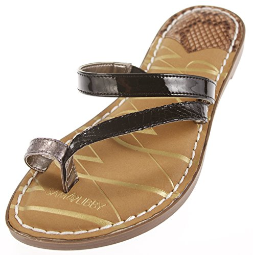(Sam & Libby Women's Karina Sandals (9 B(M) US Womens, Black/Snake))