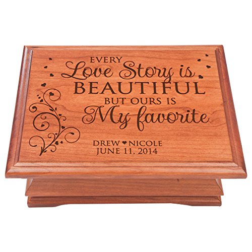 Personalized Jewelry Box for Couple Anniversary Gift for her, Keepsake Box Every Love Story is Beautiful by Dayspring