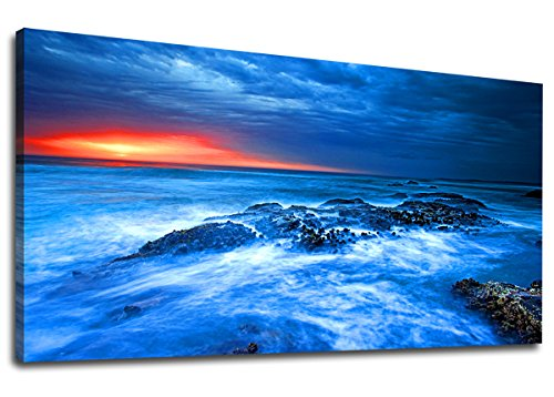 Canvas Wall Art Blue Ocean Sunset Wave Rocks Seascape Picture Large Nature Modern Canvas Artwork Sea View Contemporary Canvas Wall Art Picture for Home Office Wall Decor 20 x 40 Blue Themes