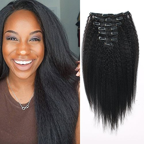 OrderWigsOnline Yaki Kinky Straight Clip In Human Hair Double Wefts Extensions 100gram/3.6oz 100% Virgin Remy Human Hair 7 pieces Grade 8A for Thin Hair Natural Black Color for Black Women 22 Inch KS ()