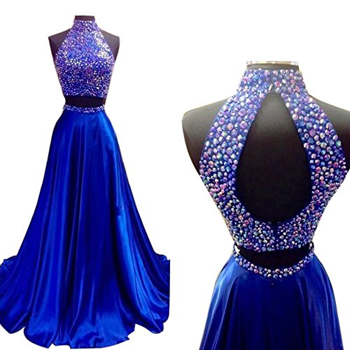 Alfany Elgent Long A Line Two Piece Prom Dress With Beading Halter Neckline Stain Rinestone Evening Party Gowns (2, Royal Blue)