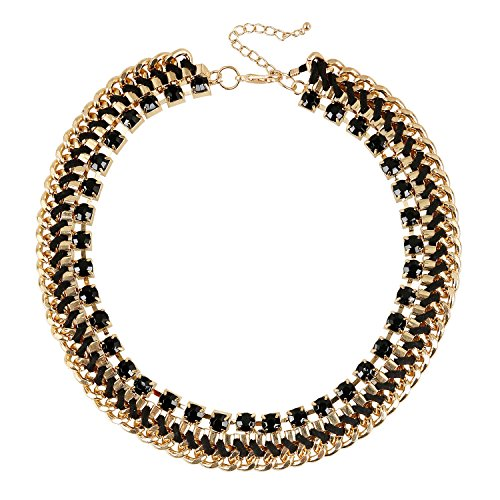 lureme European Style Gold Chain Chunky Luxury Black Glass Stone Statement Bib Necklace (01003936) (Harry Potter Dressing Up)