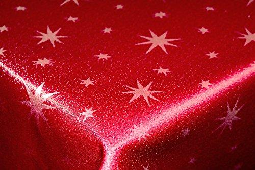 Tischdecke 130x160cm eckig rot silber mit Lurex Garn und eingewebten Sternen, dekorativ für die Weihnachtszeit in Gold, Rot/Silber, Anthrazit/Silber und Silber, außerdem in vielen Größen erhältlich und natürlich pflegeleicht