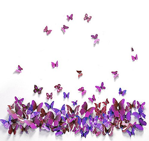Purple Decals - Star® 12 Pcs 3D Butterfly Wall Stickers New Home Art Decor Decoration Decals - DIY Removable 3D Vivid Special Man-made Lively Butterfly (Purple)