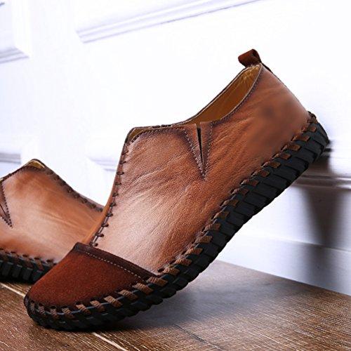 Uomo liscia Marrone Giuntura Tonda casual pelle Yiiquan loafers di Punta Scuro Mocassini PU scarpe 4Ad4wq