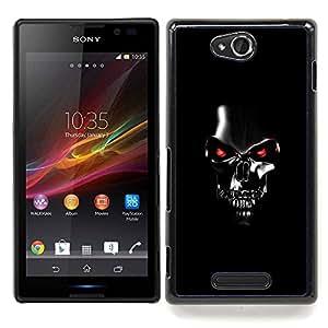 """Qstar Arte & diseño plástico duro Fundas Cover Cubre Hard Case Cover para Sony Xperia C (Robot Cráneo Negro Scary Tecnología Película"""")"""