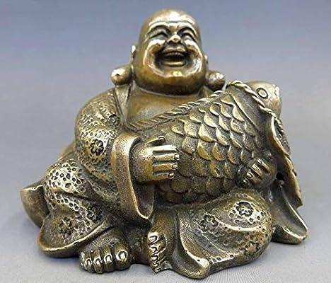 China Brass Maitreya laughing Buddha brass more than money fish every year Statu