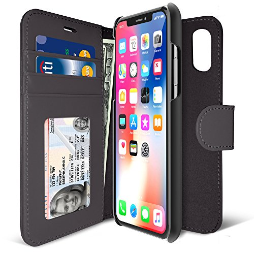 Iluv Black Leather Case (iLuv iPhone X Premium Wallet Case with Detachable Durable Hardshell Slim Case, 2 Credit Card Slots, One ID Window, One Money Pocket, Foldable Stand, 360 Degree Protection, and Magnet Closure (Black))