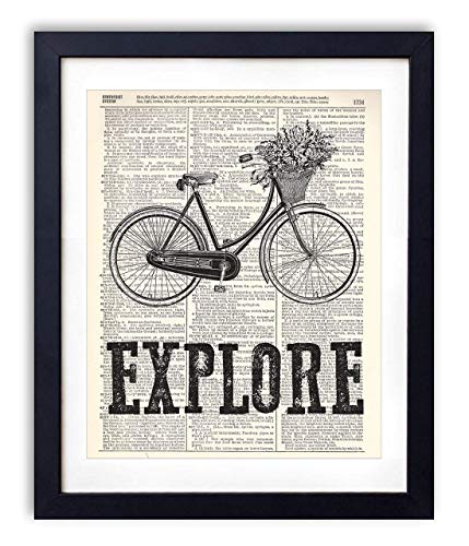 Explore Typography Upcycled Vintage Dictionary Art Print 8x10