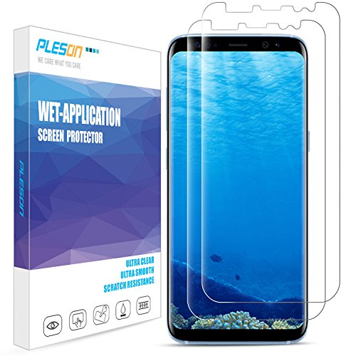 Galaxy S8 Screen Protector, [2-Pack]PLESON [Case Friendly][Updated Version] Samsung Galaxy S8 Screen Protector [Full Coverage][No Lifted Edges] Wet Applied HD Clear film Screen Protector for Galaxy S8