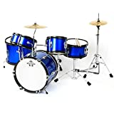 Kaizer Junior Kids Drum Set 5 pc Blue Metallic JDRMS5-1000BL