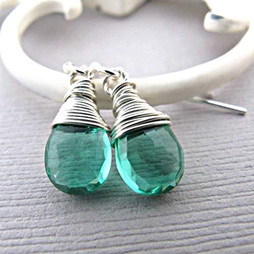 Emerald Earrings - May Birthstone Earrings - Emerald Green Quartz Earrings - Emerald Dangle Earrings - Emerald jewelry, Birthstone Earrings, Gemstone Jewelry