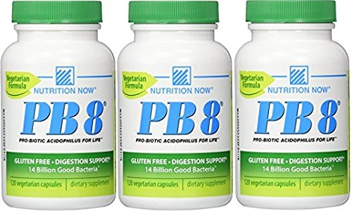 Now PB 8 Pro-Biotic Acidophilus Capsules, Vegetarian, 120-Count (Pack of 3)