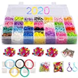 10,000 Rubber Bands Refill Pack Colorful Loom Kit Organizer for Kids Bracelet Weaving DIY Crafting with Crystal-Like Charms,500 S-Clips,Mini Hook and 175 Beads (Xmas Present Set in Rainbow Color): more info