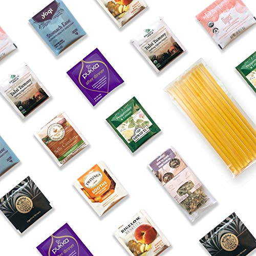 Tummy Tamer Digestion Tea Kit - 40+ Servings Digestive Herbal Tea Bags Assortment with 10 Honey Sticks. Perfect Sampler Gift for Those Who Want To Sooth Their Stomach After Meals. Best Tea Gift.