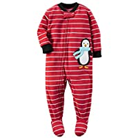 Carter's Baby Boys' 1 Pc Fleece Footed Sleeper Pajamas (12 Months, Stripe Pen...