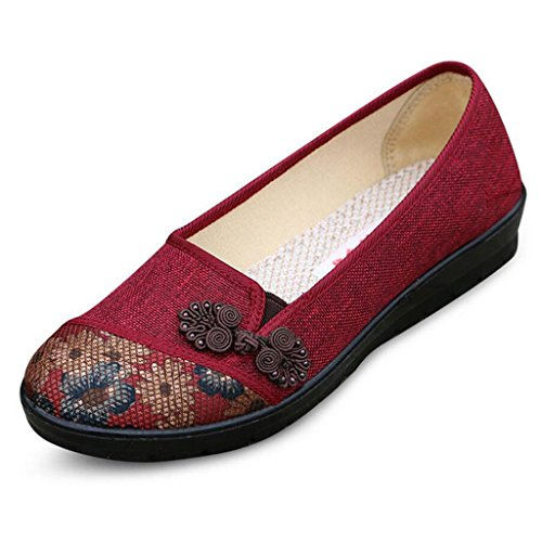 Binying Women's Folk Style Shallow Pumps Red qlZcfi7T
