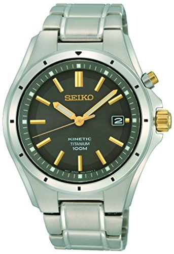 (Seiko Mens Analogue Classic Kinetic Watch with Stainless Steel Strap SKA765P1)