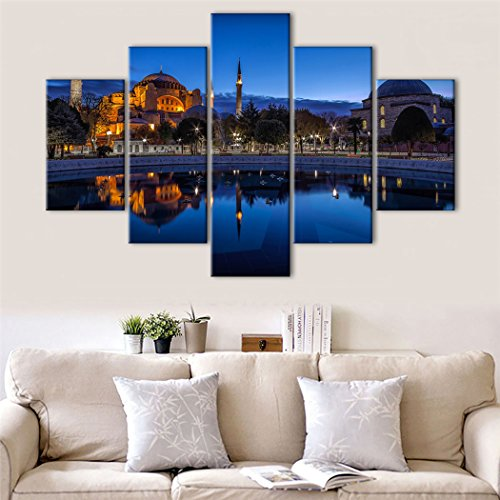 Ahmed Sultan Mosque (Yatsen Bridge Large 5 Pieces Modern Painting on Canvas Wall Art Blue Night Sultan Ahmed Mosque Istanbul Pictures for Living room Home Decor Gift Stretched and Framed Ready to Hang (70''W x 40''H))