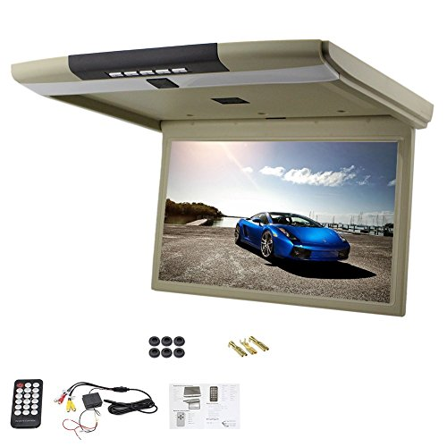 Hot Sale 15 Inch Car Roof Mount Display HD LCD Screen Flip Down Monitor Built-in FM Modulator Overhead Player Supports USB/SD/2 Video Input+Remote Control