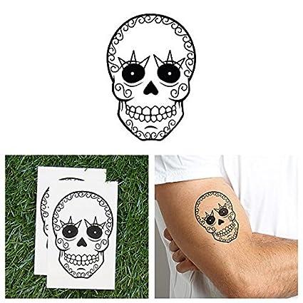 Tatuaje Temporal Tattify - Calavera azucarada - Rock N Roll (Juego ...