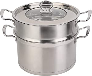 Zerone Steamer Pot,26CM Stainless Steel Double Layer Food Steamer Pot Stockpot Cookware Household Cooking Tool