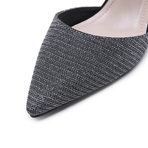 Single shoes - female Versión coreana de las sandalias de tacón alto de diamantes de imitación puntiagudos zapatos huecos de boca baja (Color : Gris, Tamaño : 36-Shoes long230mm) As Shown