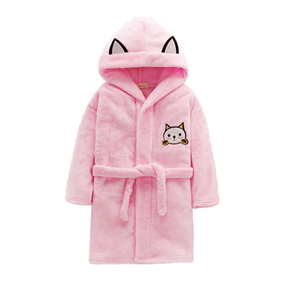 JIANLANPTT Kids Cute Cat Cartoon Party Robe Flannel Hooded Bath Pajamas Sleepwear Pink 6-7Years