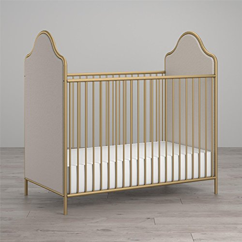 (Little Seeds Piper Upholstered Metal Crib, Gold)