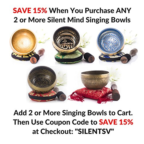 Large Product Image of Silent Mind ~ Antique Design Tibetan Singing Bowl Set ~ Great For Mindfulness Meditation, Relaxation, Stress & Anxiety Relief, Chakra Healing, Yoga, Zen ~ Perfect Spiritual Gift
