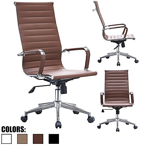 2xhome - Brown Modern High Back Tall Ribbed PU Leather Swivel Tilt Adjustable Chair Designer Boss Executive Management Manager Office Conference Room Work Task Computer by 2xhome