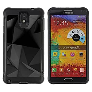 All-Round Hybrid Rubber Case Hard Cover Protective Accessory Compatible with SAMSUNG GALAXY NOTE 3 - geometrical modern art black grey