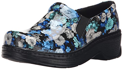 Blue Women's Nursing KLOGS Footwear Leather Closed Clog Naples Back Flower Patent pwq8B