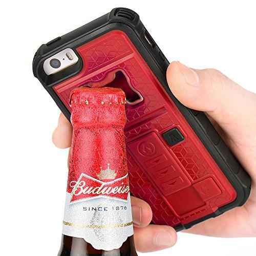 iPhone 5s Case, ZVE® Apple iPhone SE/5S/5 Case Built-in Cigarette Lighter/Bottle Opener/[Heavy Duty] (Red)
