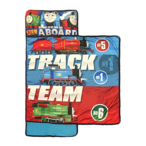 Nickelodeon Thomas The Tank Engine Kids/Toddler/Children's Nap Mat with Built in Pillow and Blanket Featuring Thomas, Percy and James (Thomas Sleeping Bag)