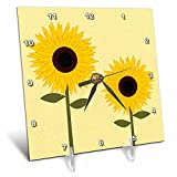 3dRose dc_24647_1 Simply Sunflowers Light Yellow Background-Desk Clock, 6 by 6-Inch