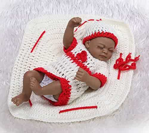 Funny House 10Inch26cm Full Body Soft Silicone Vinyl Real Looking Reborn  Baby Dolls Lifelike Black Skin da8f324bfec3