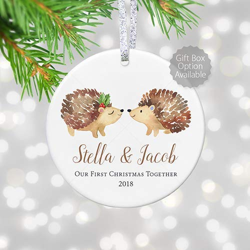 Christmas Gifts 2019 For Boyfriend.Our First Christmas Together 2019 Personalized Gifts Couple Boyfriend Girlfriend Relationship Keepsake Ornament 3 Flat Circle Ceramic Boho