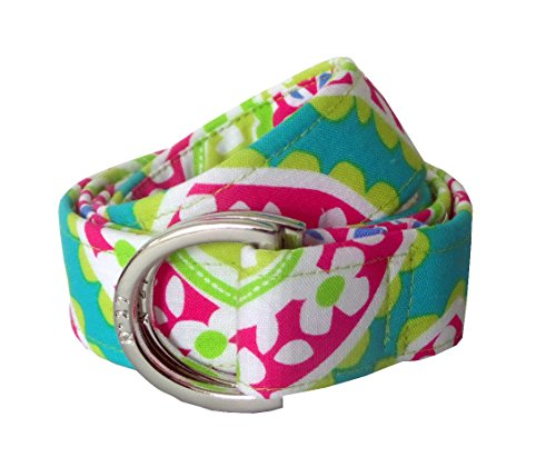 Pink D-ring Belt - No27 Womens Colorful Spring Daisy Flower D-Ring Fabric Belt Medium Pink