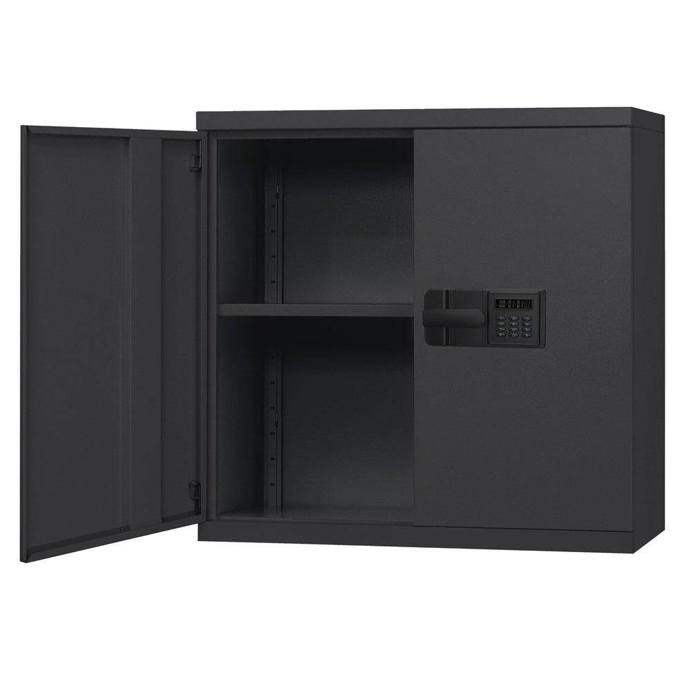 Sandusky Lee KDEW3012-09 Black Steel Wall Cabinet, Keyless Electronic lock, 1 Adjustable Shelf, 30'' Height x 30'' Width x 12'' Depth