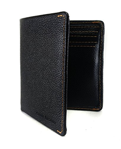 Bi Fold Exclusive Wallet - Chalk Factory Men's Modern Genuine Leather Bifold Wallet With Pull Strap for Cards (Black)