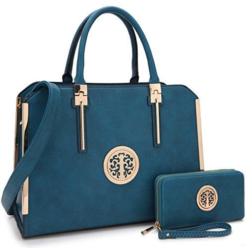 MMK Fashion Handbag for Women Classic Satchel handbag Designer Top handle purse Trending Hobo Tote bag 2 pieces(Handbag/wallet) Set (B-7555-W-BLUE) by 1988 Marco M.Kelly