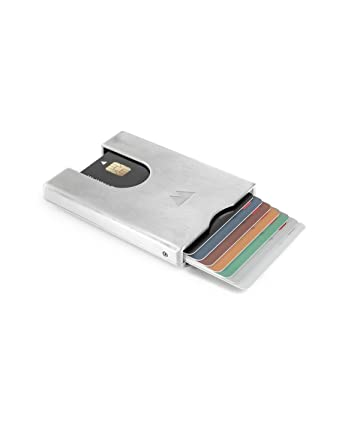 2bc1079ae64 Walter Wallet Very Slim Credit Card Money Clip Pocket Wallet Holds Up To 7  Cards Plus Bank Notes (Aluminium Raw) at Amazon Men's Clothing store: