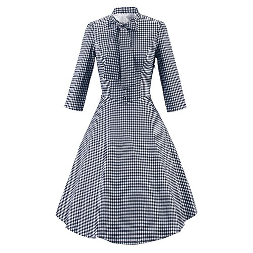 LUOUSE-Womens-Retro-Plaid-1950s-60s-34-Sleeve-Polo-Neck-Bow-tie-Button-Swing-Casual-Dress