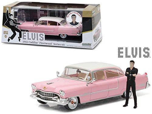 Elvis Presley's 1955 Pink Cadillac Fleetwood Series 60 with Elvis Presley Figurine 1/43 Diecast Model Car by Greenlight 86436