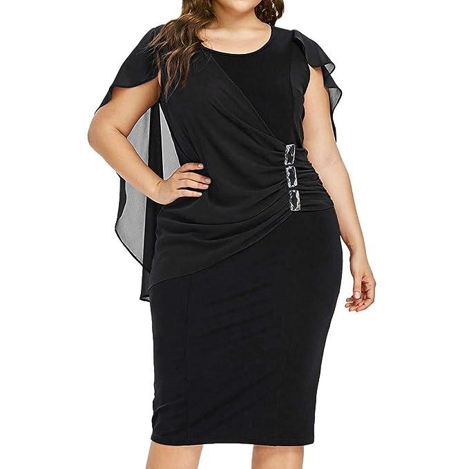Redacel Womens Plus Size Dress, Chiffon Ruffle Flattering Cape Sleeve  Bodycon Party Pencil Dress