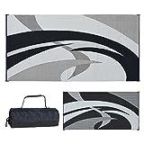 Reversible Mats 159181 Black & White Swirl Pattern Mat 9-Feet x 18-Feet)