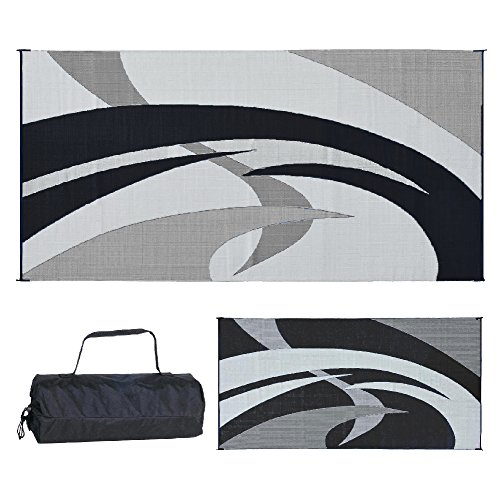 Camp Out Awning - Reversible Mats 159181 Black & White Swirl Pattern Mat 9-Feet x 18-Feet