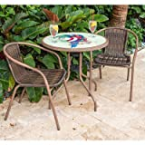 Outdoor Cafe Parrot 3 Piece Weather Resistant Resin Wicker Bistro Set w/ Tempered Glass Table Top & Durable Metal Frame in Espresso (Table) 27.5'' H x 28.5'' W x 28.5'' L in.